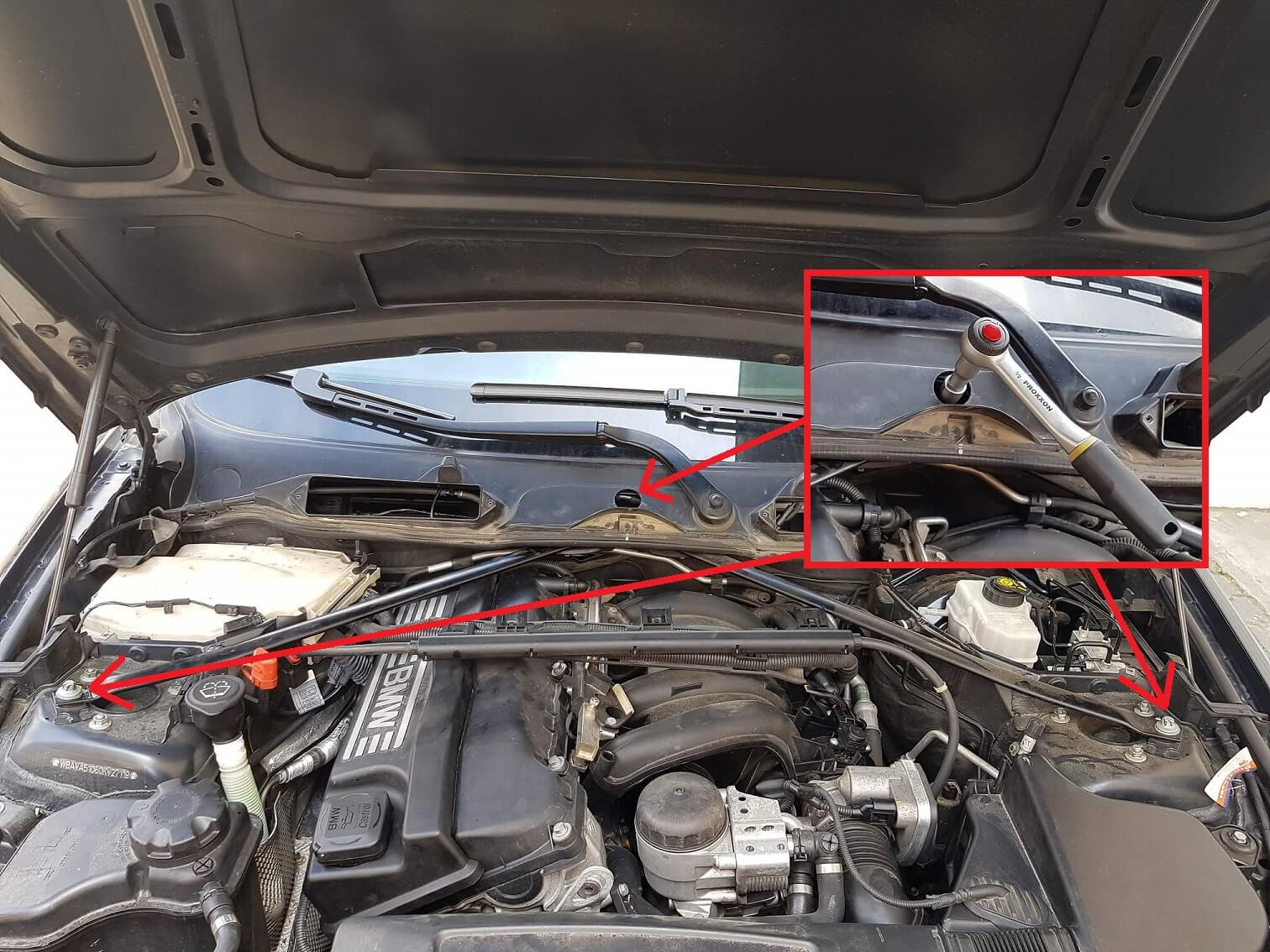 BMW Domstrebe entfernen
